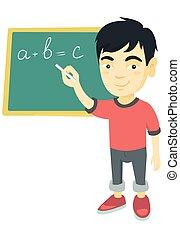 Asian schoolboy writing on the blackboard.