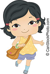 Asian Schoolgirl - Illustration of an Asian Girl on Her Way...
