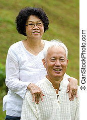 Asian Senior Couple at outdoor park