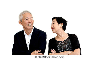 Asian senior couple partner dress in formal attire. Beautiful and handsome cool old people