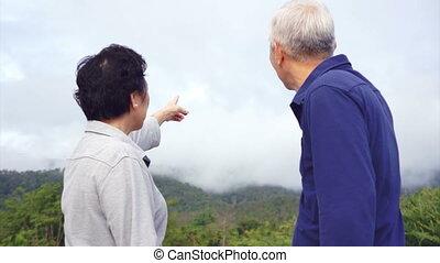 Asian senior couple pointing, talking