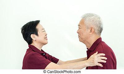 Asian senior couple promise commitment on white background -...