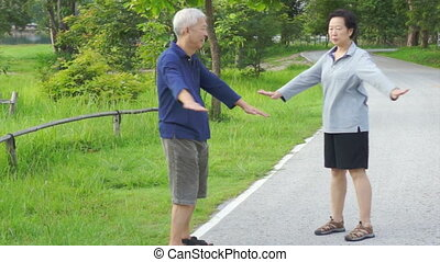 Asian senior couple walking nature