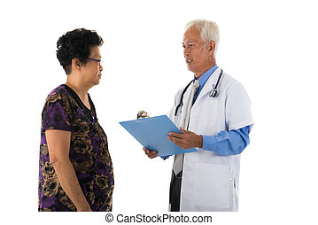 asian senior doctor with female patient
