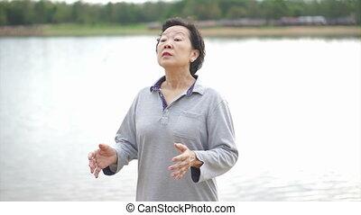 Asian Senior Elderly Practice Taich - Video of Asian Senior...