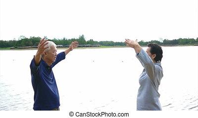 Asian Senior exercise Taichi - Video of Asian Senior Elderly...