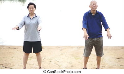 Asian Senior exercise Taichi - Video of Asian Senior Elderly...