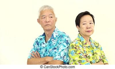 Asian senior fighting, pouting - Video Asian senior couple...