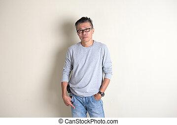 asian senior male in casual