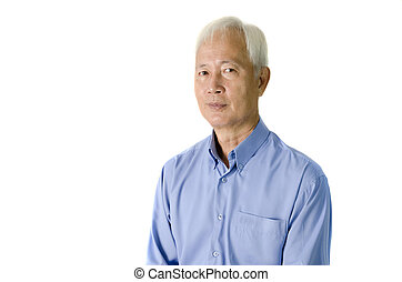 asian senior man with isolated background