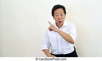 asian senior woman angry say no