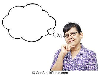 Asian senior woman smilingly and thinking something