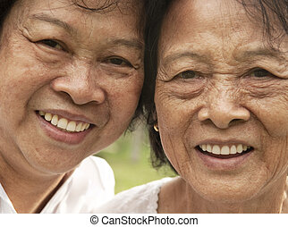 Asian senior woman, 80's mother and her 60's daughter