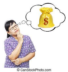 Asian senior woman thinking to money bag