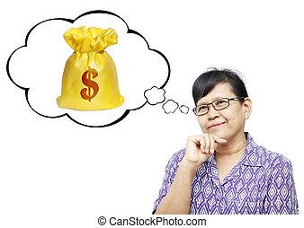 Asian senior woman thinking to money