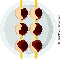 Asian shashlik icon isolated - Asian shashlik icon flat...