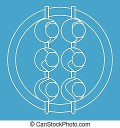 Asian shashlik icon, outline style - Asian shashlik icon...