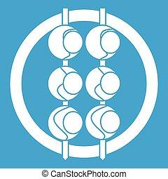 Asian shashlik icon white isolated on blue background vector...