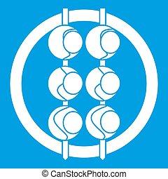 Asian shashlik icon white isolated on blue background...