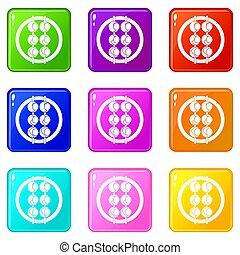 Asian shashlik icons 9 set - Asian shashlik icons of 9 color...
