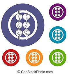 Asian shashlik icons set in flat circle red, blue and green...