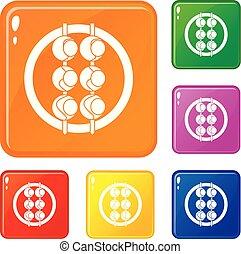 Asian shashlik icons set vector color