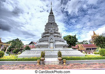 Asian Shrine - Shrine in the Royal Palace in Phnom Penh,...