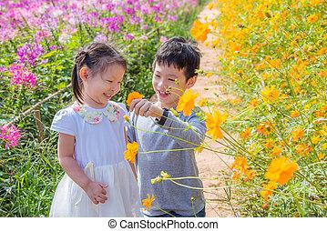 siblings enjoy together in flower garden