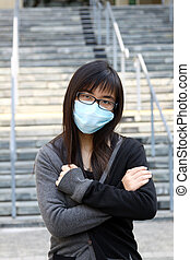 Asian sick woman