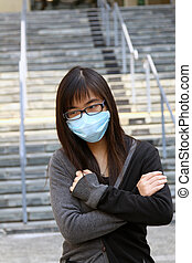 Asian sick woman with mask