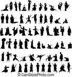 Asian silhouettes set