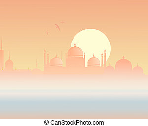 asian skyline - an illustration of a beautiful asian sunset ...