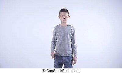 Asian sleepy child on white background isolated