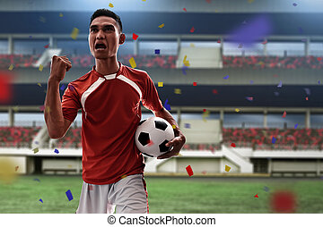 Asian soccer player celebrating