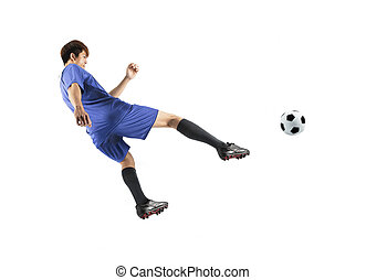 asian soccer player in action isolated white background