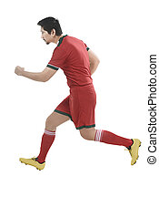 Asian soccer player running
