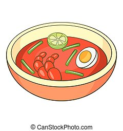 Asian soup icon, cartoon style