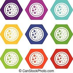 Asian soup icon set color hexahedron
