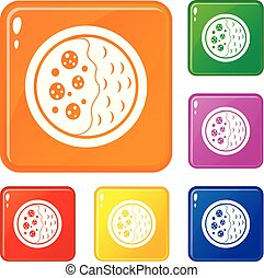 Asian soup icons set vector color