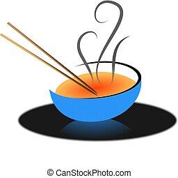 Asian Soup - Chop sticks and soup bowl Asian soup...