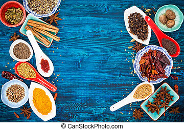 Asian spices - Various asian spices on a blue wooden...