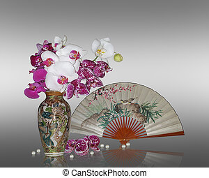 Asian still life orchids and fan