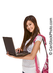Asian student in jeans with backpack, laptop - Friendly...