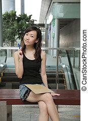 asian, student, myślenie
