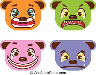 Asian style bear faces vector