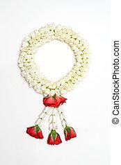 Asian Style Jasmine Garland on iSolated White Background