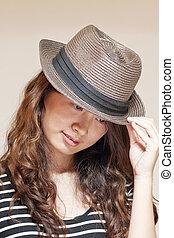 Asian stylish woman wearing hat