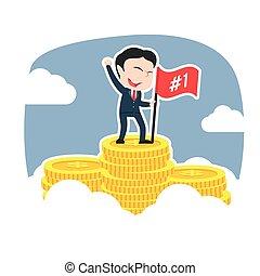 Asian successful businessman on coins peak