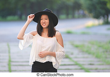 Asian summer hat beautiful girl smile