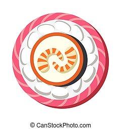 Asian sushi food illustration in cartoon style